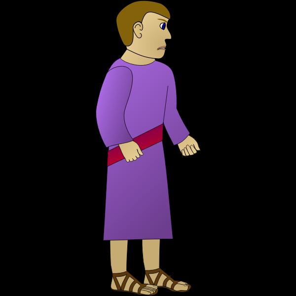 Vector graphics of sad ancient man