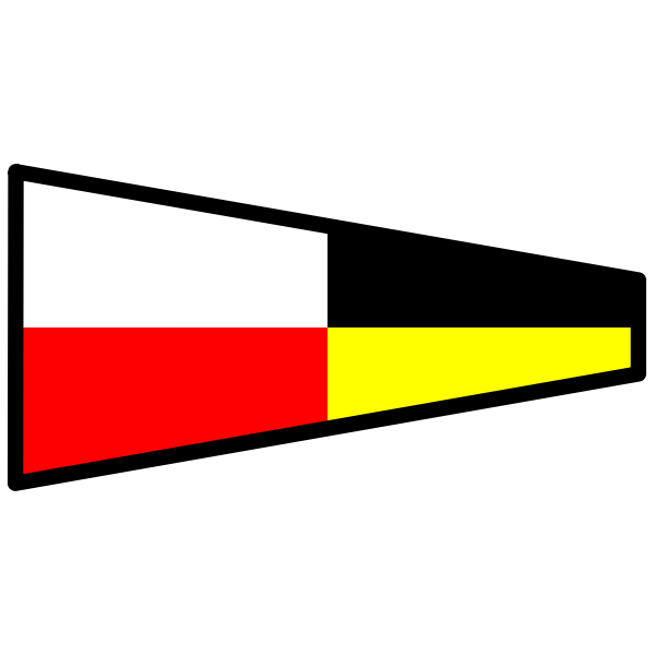 Vector image of tapering flag on a ship