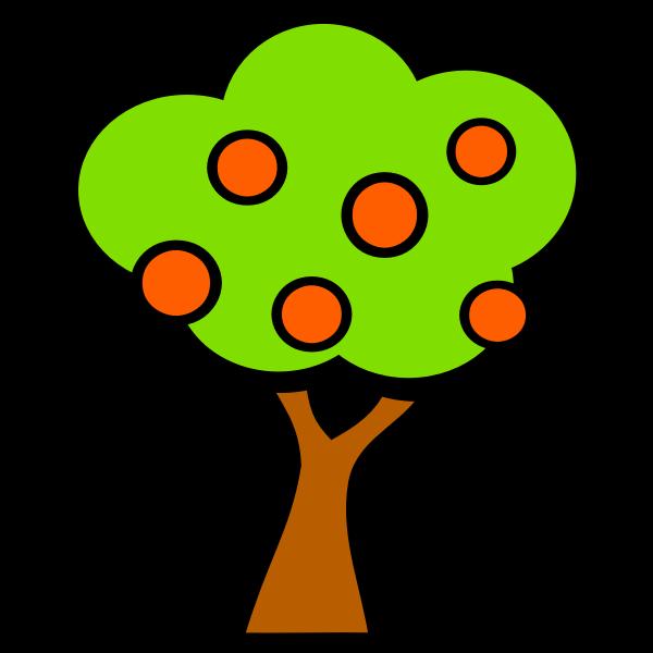 Vector graphics of orange tree for cartoon