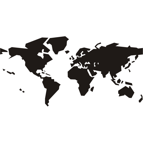 Black silhouette vector clip art of political world ma