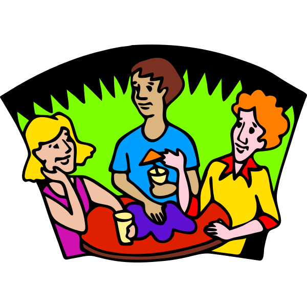 Vector image of friends having a drink