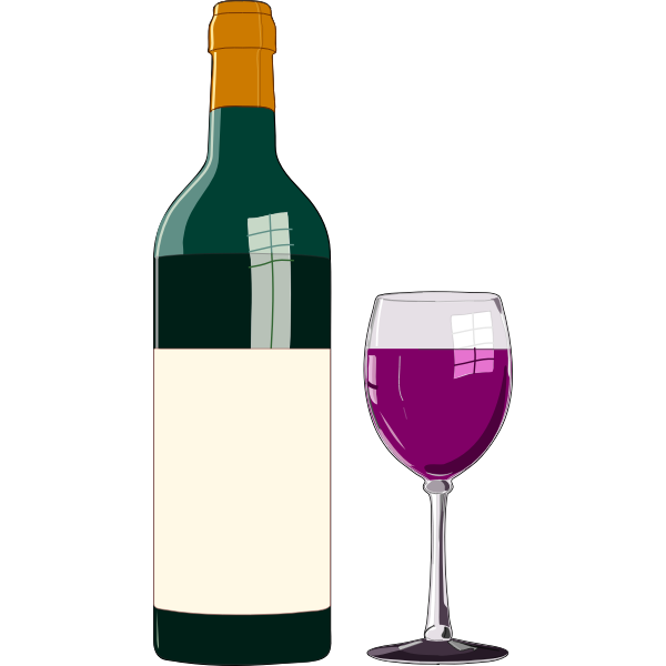 Red wine bottle and glass in vector graphics