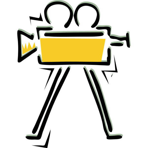 Old filming camera vector drawing
