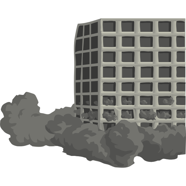Vector image of building demolition