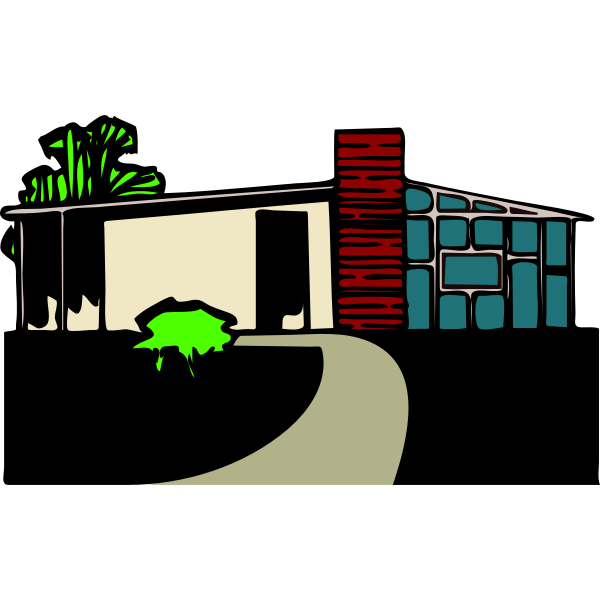 Colored vector drawing of a house