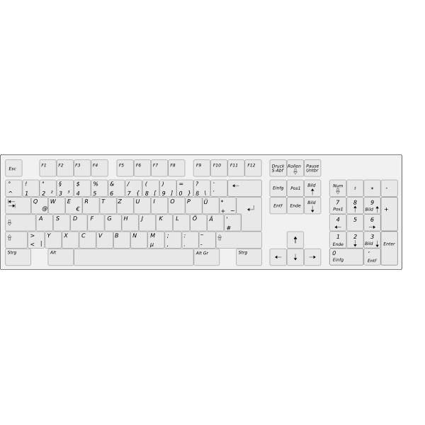 German computer keyboard vector illustration