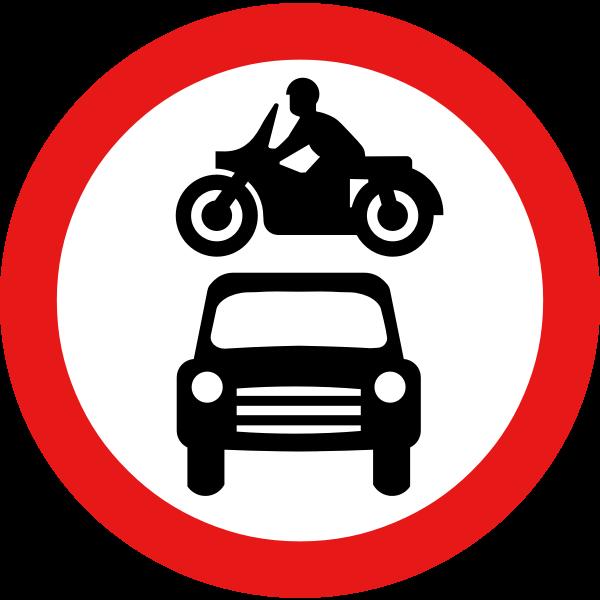 No motor vehicles vector road sign