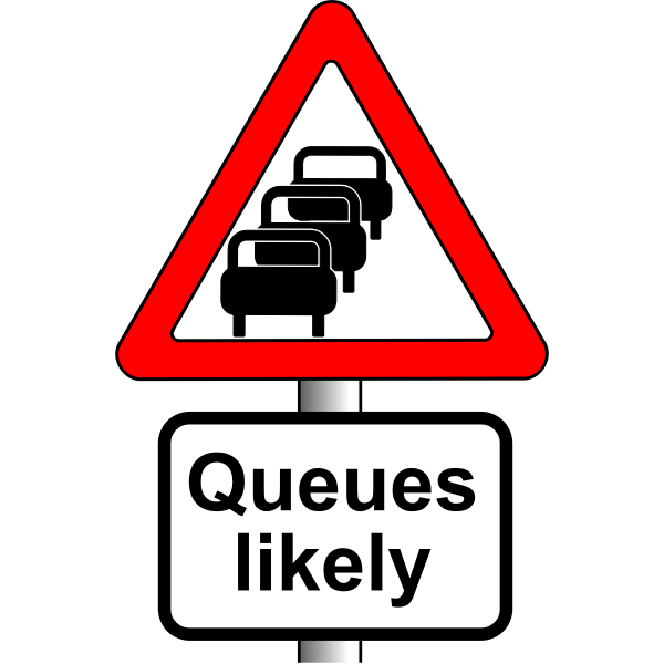 Queues likely vector road sign