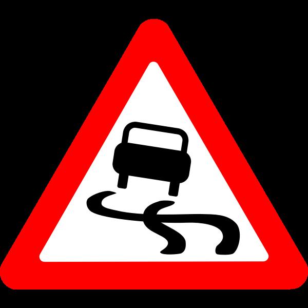 Slippery road vector roadsign
