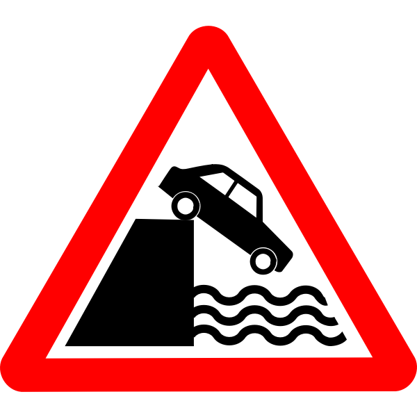 River bank vector road sign
