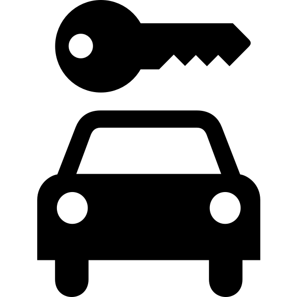 Rent a car vector icon image inverted