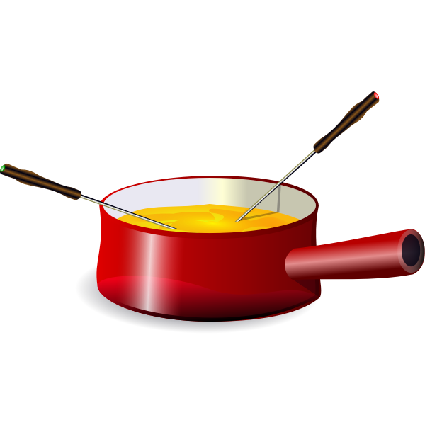 Fondue in a saucepan vector image