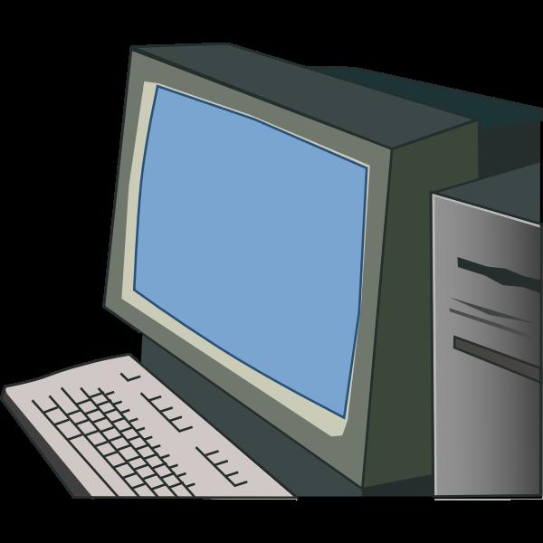 Desktop computer vector drawing