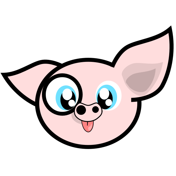 Vector illustration of pig with a monocle in its right eye