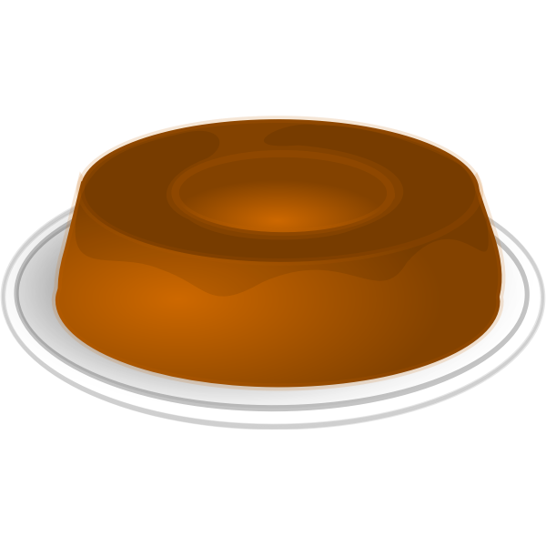 Caramel pudding on a plate vector image