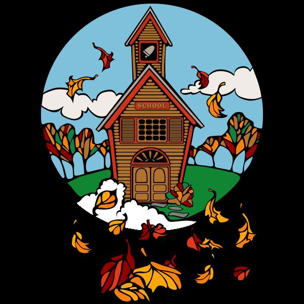 School in Fall Vector Illustration