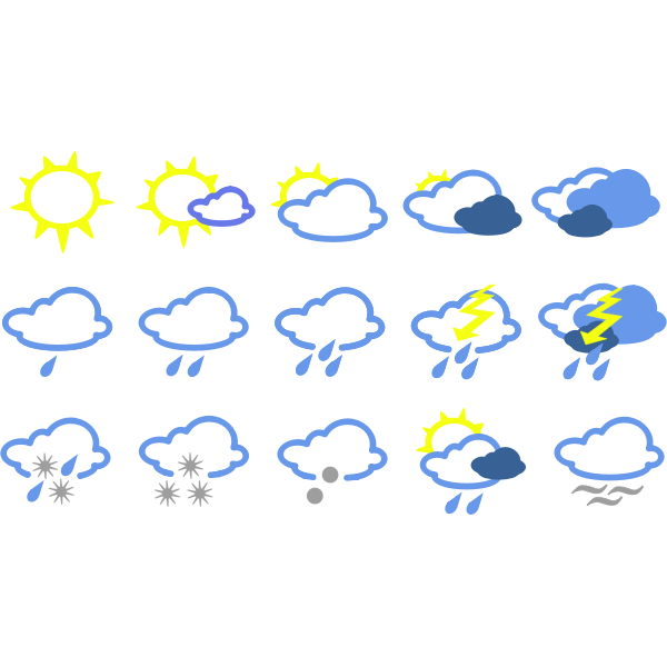 Weather forecast symbols collection vectors