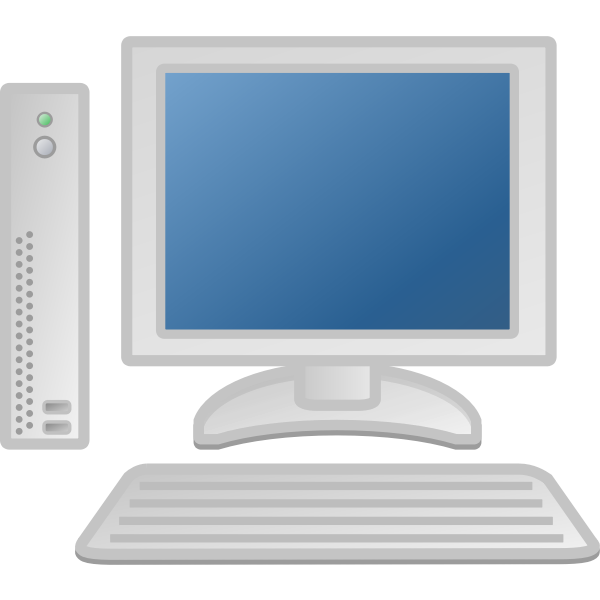 Thin desktop computer vector image