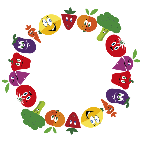 Anthropomorphic Fruits And Vegetables Frame Large