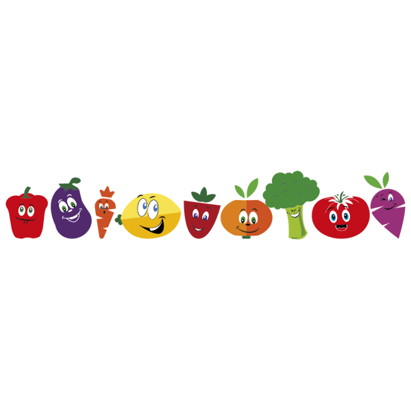 Anthropomorphic fruits and vegetables