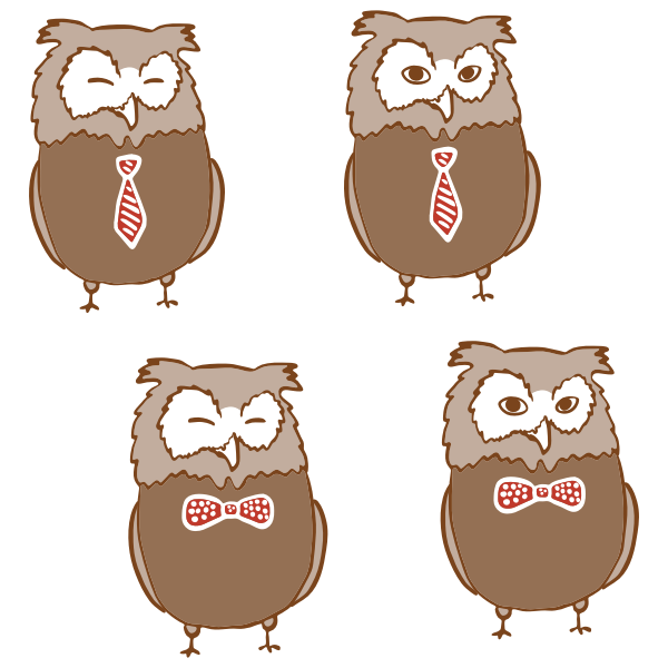 Owls with ties