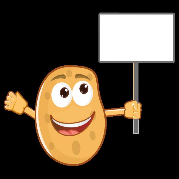 Anthropomorphic Potato Holding Sign