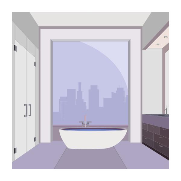 Vector image of penthouse bathroom