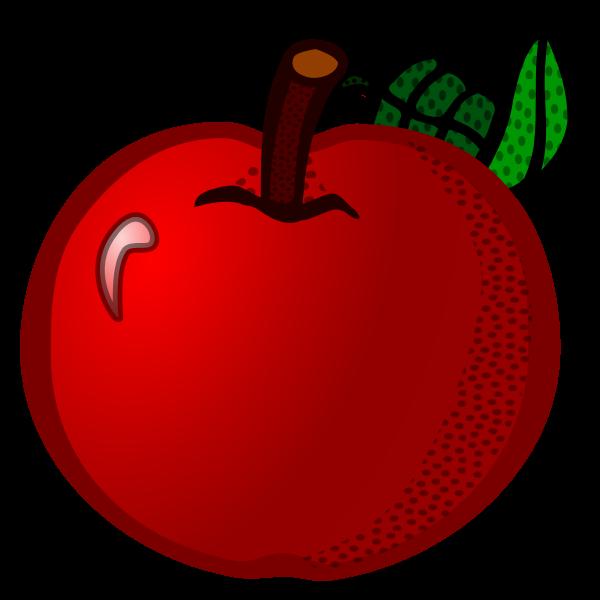 Fresh red apple line art vector clip art