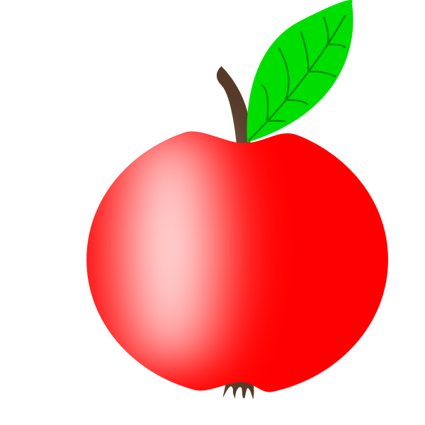 Red apple vector image with a green leaf