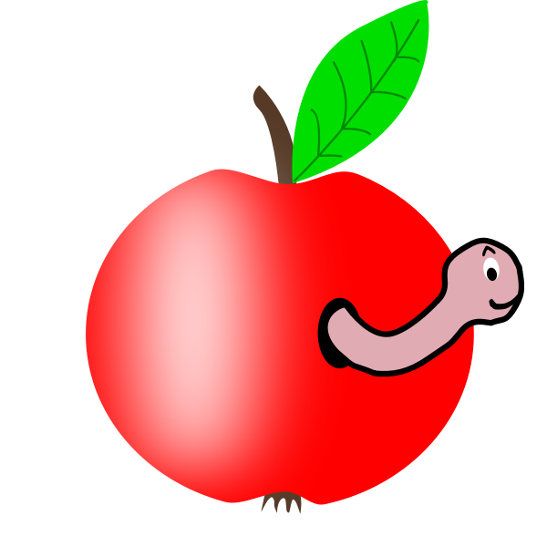 Red apple with a green leaf vector illustration