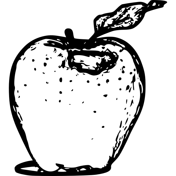 Apple line art vector drawing