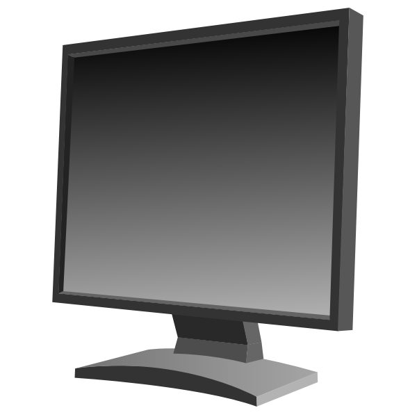 Black flat screen LCD monitor vector image