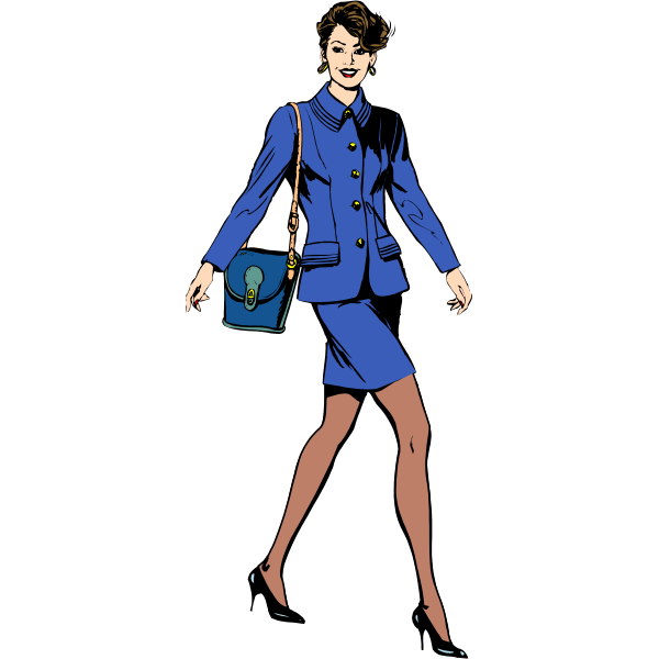Vector drawing of business woman in a blue suit