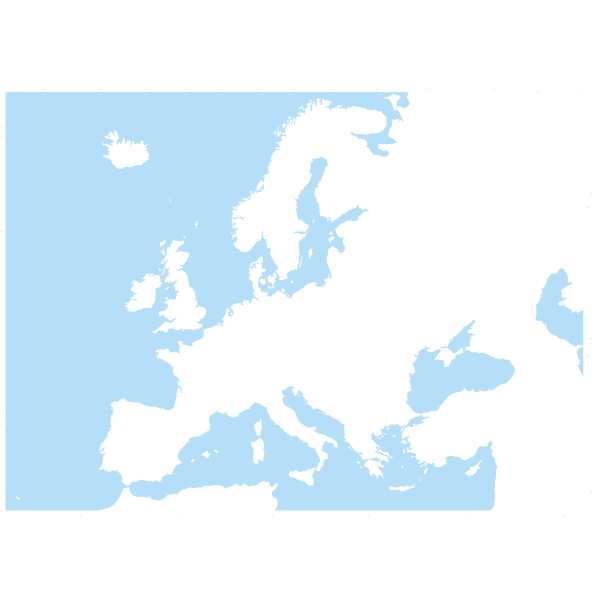 Blue and white clip art of map of Europe