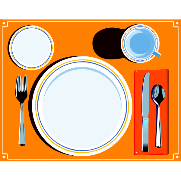 Vector image of table setting with cutlery
