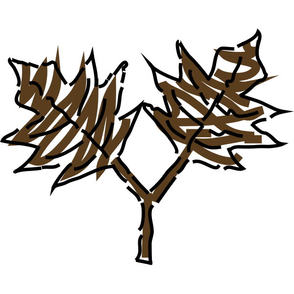 Brown leaves drawing vector clip art