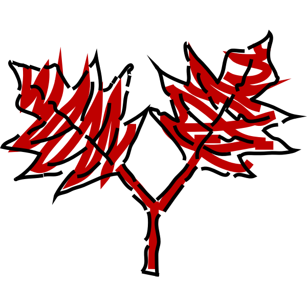 Red leaves drawing vector graphics