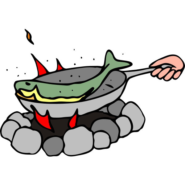 Cooking fish on a camping cooker vector graphics