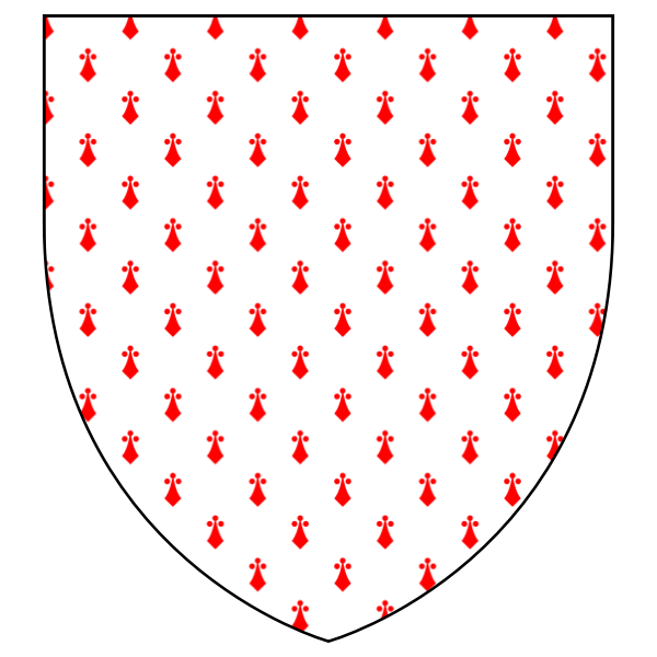 Shield with red pattern