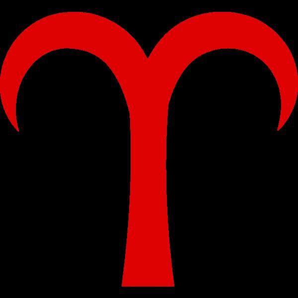 Red Aries symbol
