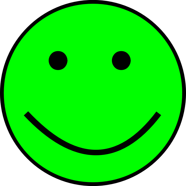 Happy green positive face emoticon vector illustration