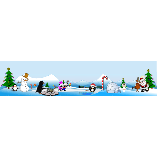 North Pole Christmas scene vector drawing