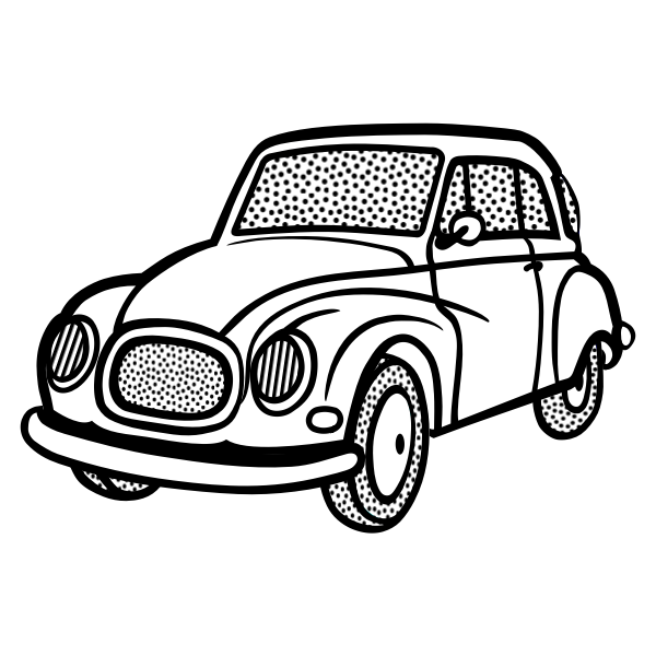 Line art vector image of old car