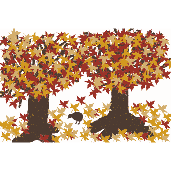 Autumn Trees with a bird vector clip art