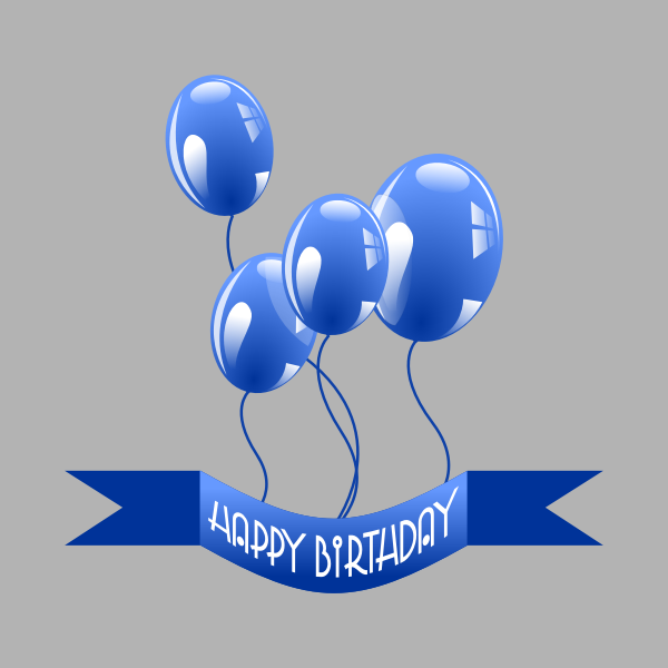 Birthday banner with balloons vector drawing