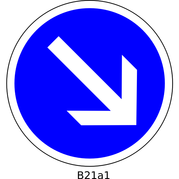 To the right direction only road sign vector image