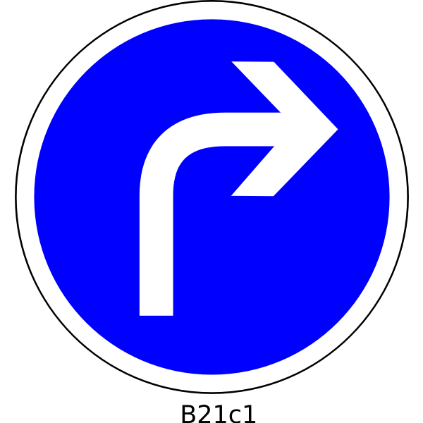 Direction right only road sign vector image