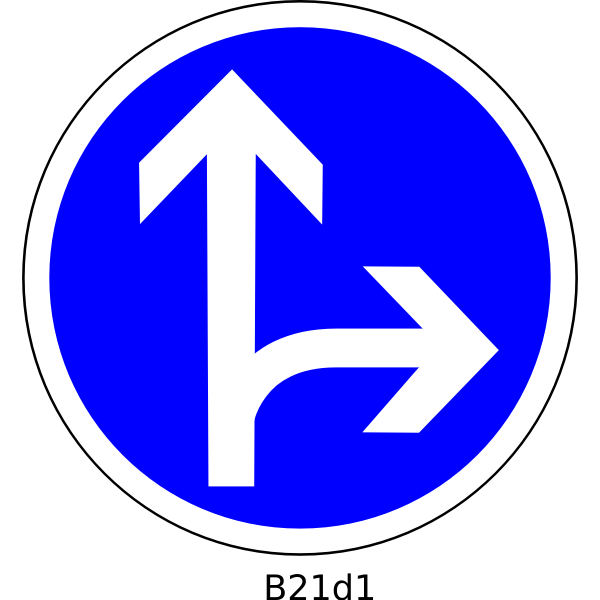 Straight and right direction road sign vector image