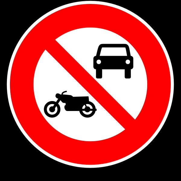 No motorcycles and cars road sign vector image