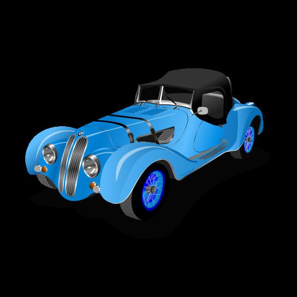 Blue old-timer car vector